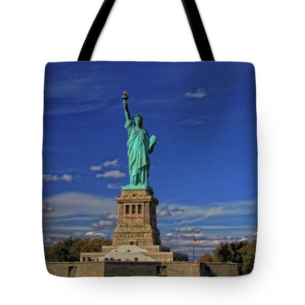 Lady Liberty In New York City Tote Bag by Dan Sproul