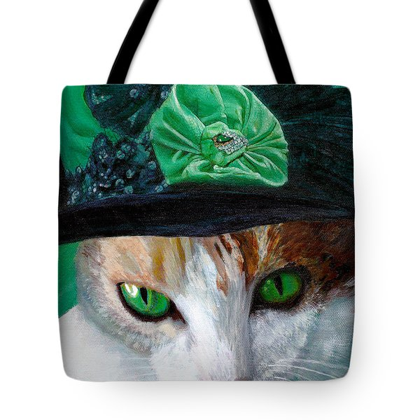Lady Little Girl Cats In Hats Tote Bag