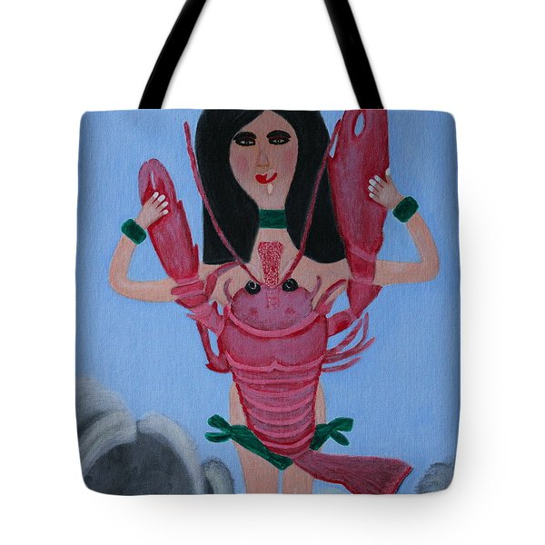 Tote Bag featuring the painting Lady Lobster by Lorna Maza