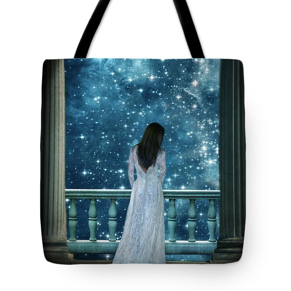 Lady On Balcony At Night Tote Bag