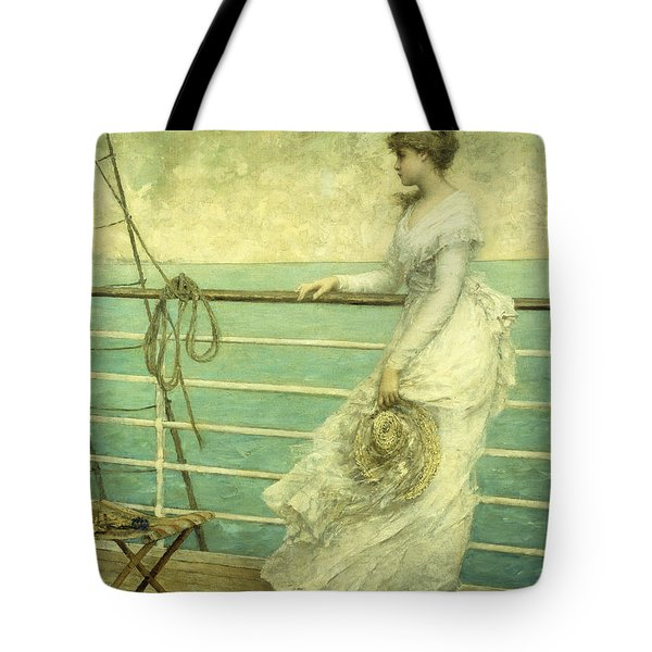 Lady On The Deck Of A Ship  Tote Bag