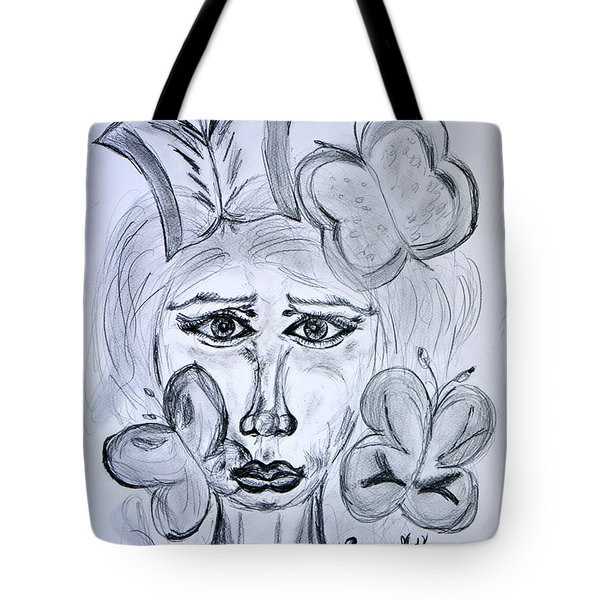 Lady Queen Of Butterflies Tote Bag by Ramona Matei