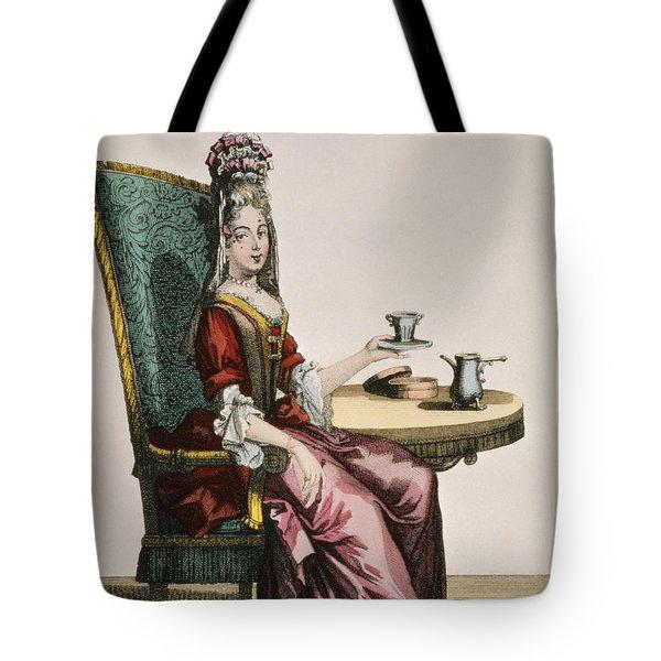 Lady Taking Coffee, Fashion Plate Tote Bag
