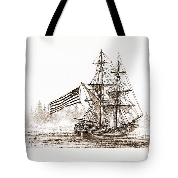 Lady Washington At Friendly Cove Sepia Tote Bag by James Williamson