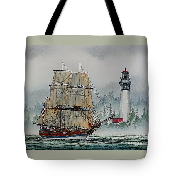 Lady Washington At Grays Harbor Tote Bag by James Williamson