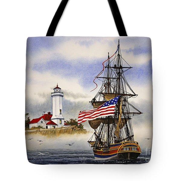 Lady Washington At Point Wilson Lighthouse Tote Bag