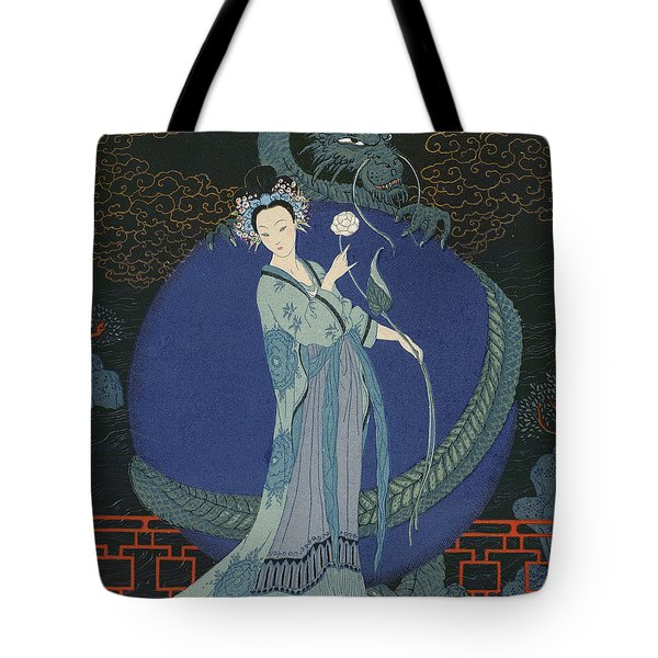 Lady With A Dragon Tote Bag by Georges Barbier