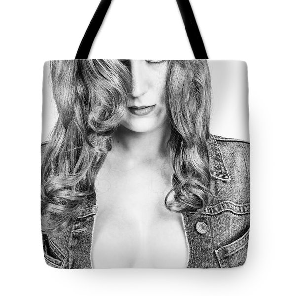 Lady With A Jeans Jacket Tote Bag by Ralf Kaiser