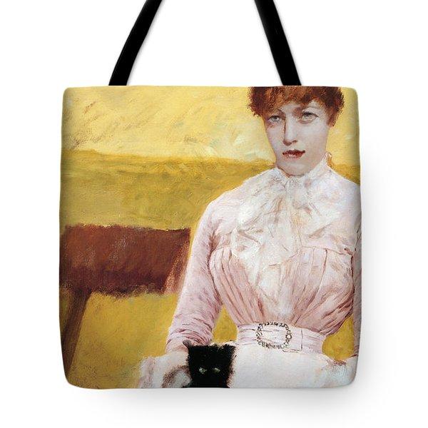 Lady With Black Kitten Tote Bag by Giuseppe De Nittis