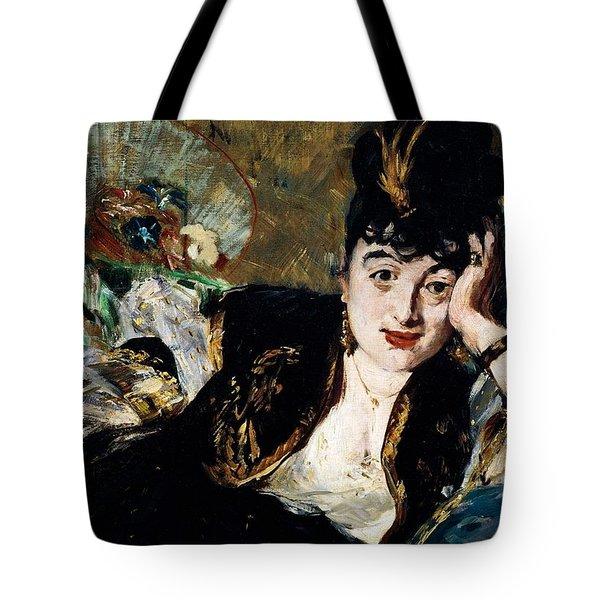Lady With Fan Portrait Of Marie Anne De Callias Known As Nina De Callias Tote Bag by Edouard Manet