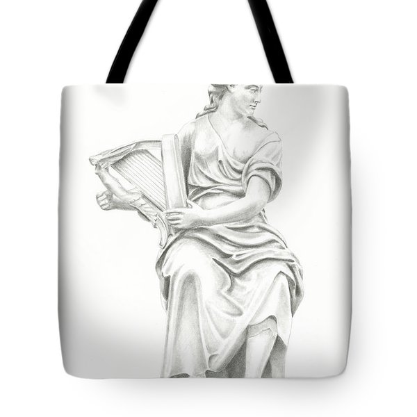 Tote Bag featuring the drawing Lady With Harp II by Elizabeth Lock