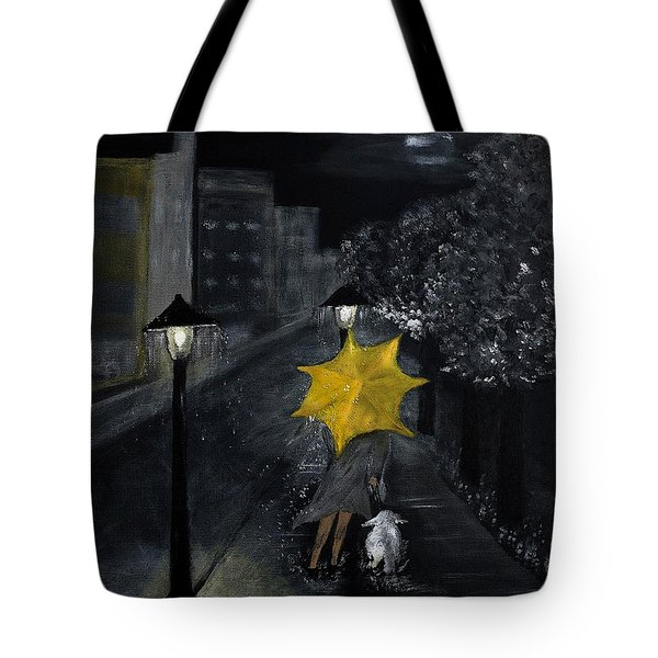 Lady With Yellow Umbrella And White Dog Tote Bag