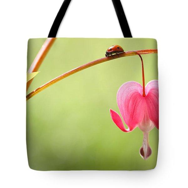 Ladybug And Bleeding Heart Flower Tote Bag