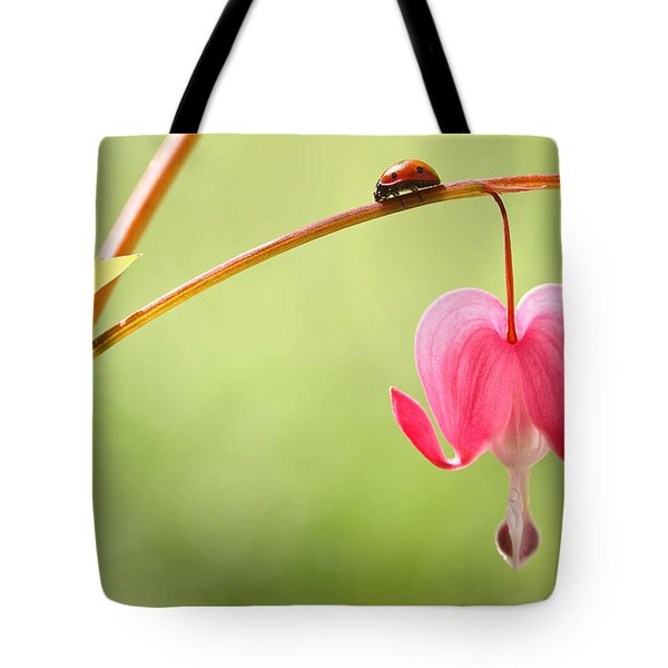 Ladybug And Bleeding Heart Flower Tote Bag