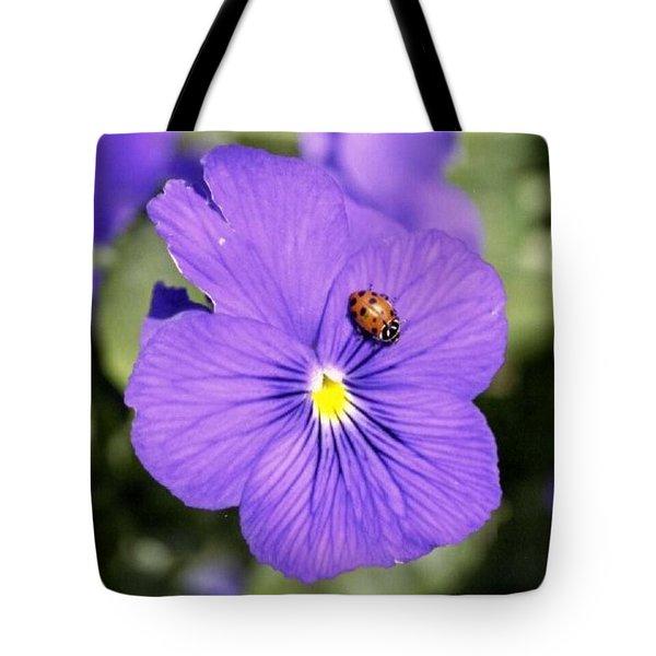 Ladybug On Flower Tote Bag