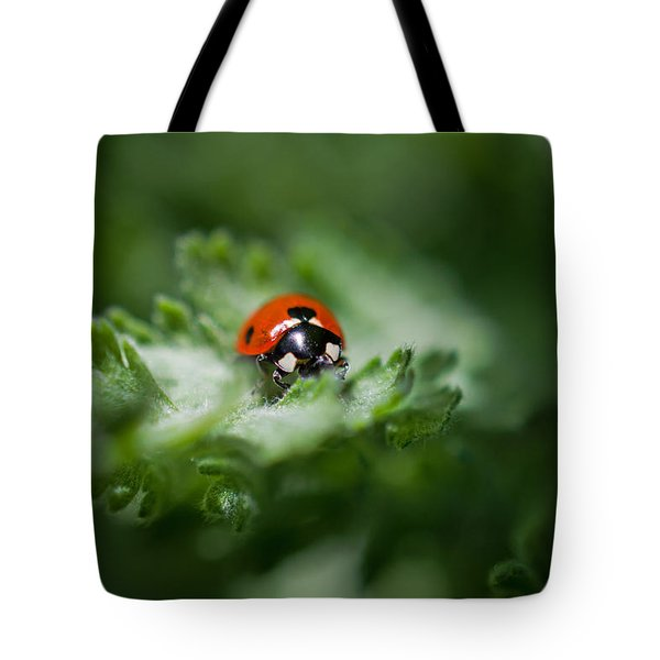 Ladybug On The Move Tote Bag by Jordan Blackstone