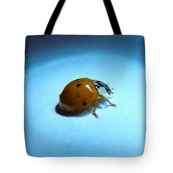 Ladybug Under Blue Light Tote Bag by Marc Philippe Joly
