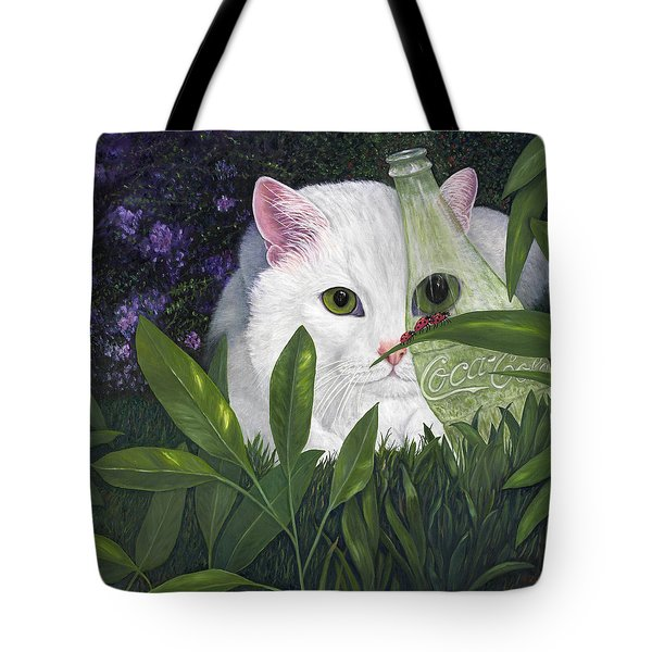 Ladybugs And Cat Tote Bag