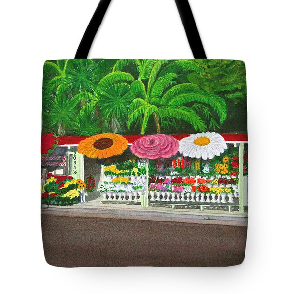 Laguna Beach Flower Stand Tote Bag by Mike Robles