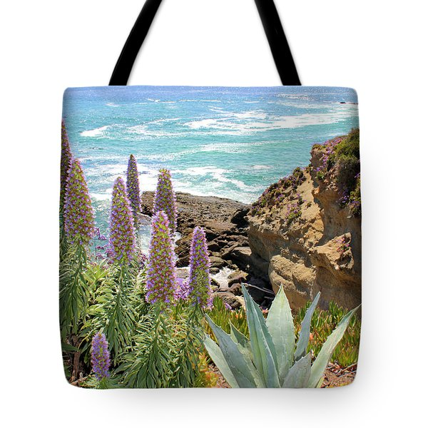 Laguna Coast With Flowers Tote Bag