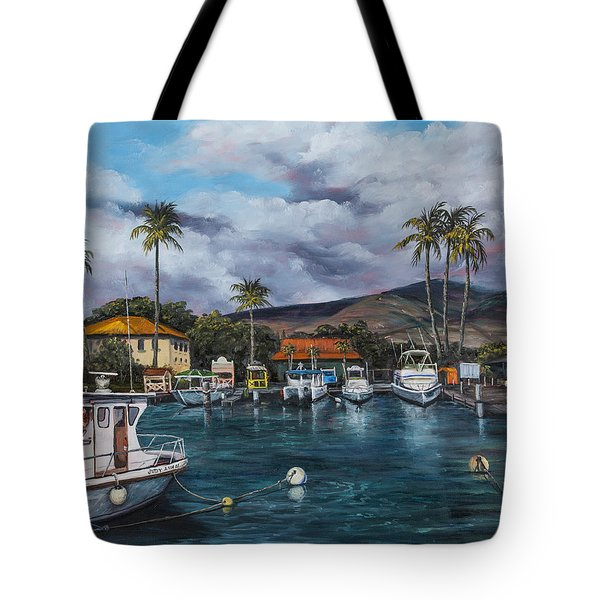 Tote Bag featuring the painting Lahaina Harbor by Darice Machel McGuire