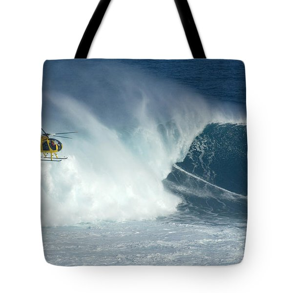 Laird Hamilton Going Left At Jaws Tote Bag by Bob Christopher
