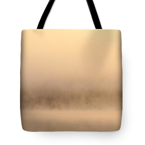 Lake Cassidy With Fog And Trees Along Shoreline Shrouded In Fog Tote Bag