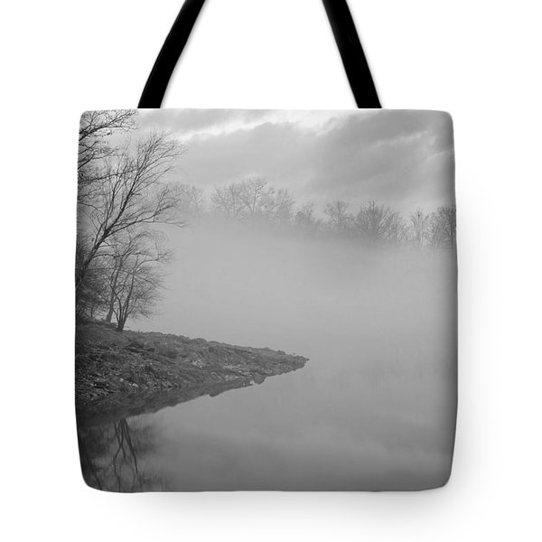 Lake Chatuge Lost In Fog Tote Bag by Kenny Francis