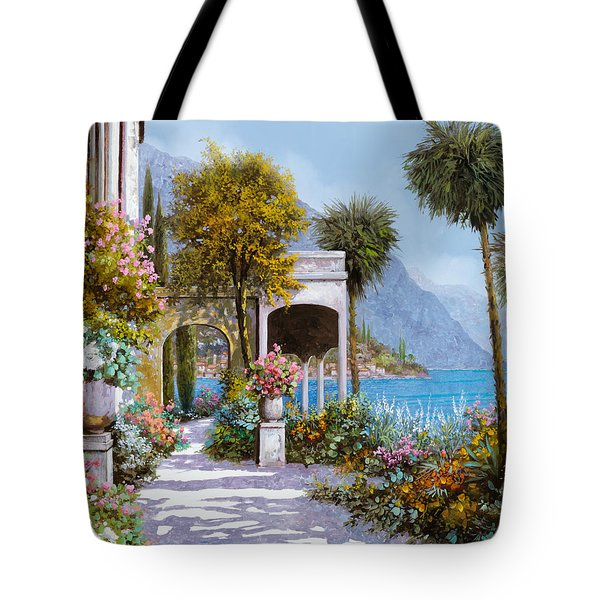 Tote Bag featuring the painting Lake Como-la Passeggiata Al Lago by Guido Borelli