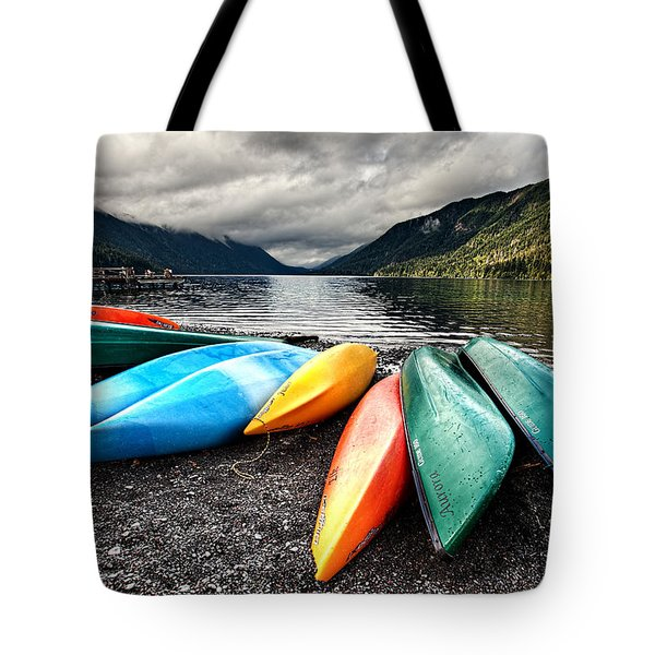 Lake Crescent Kayaks Tote Bag by Ian Good