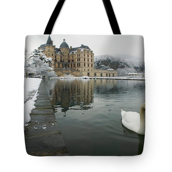 Lake In Front Of A Chateau, Chateau De Tote Bag