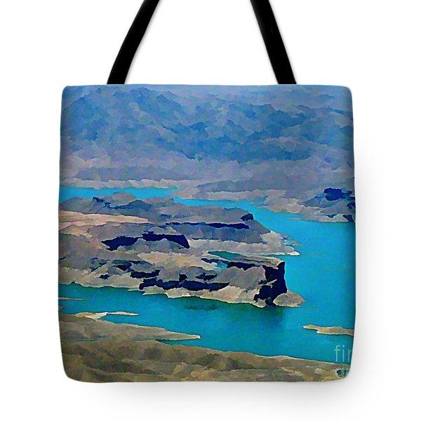 Lake Mead Aerial Shot Tote Bag by John Malone