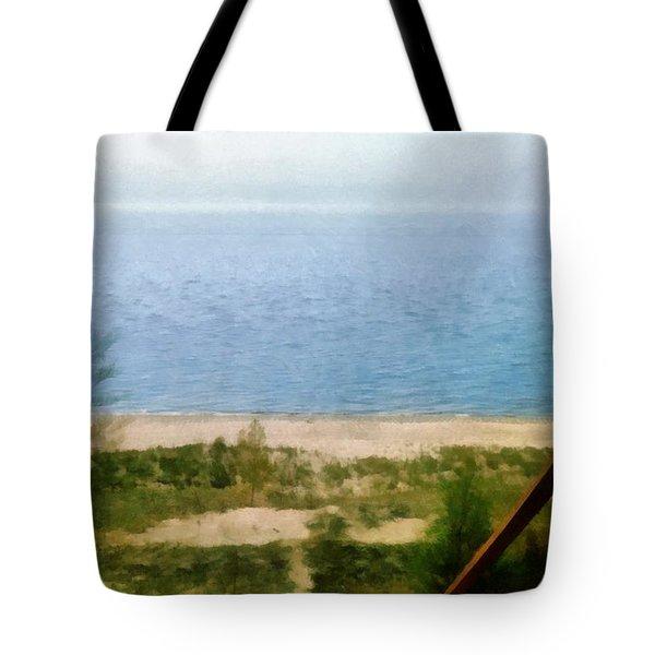 Lake Michigan Staircase Tote Bag by Michelle Calkins