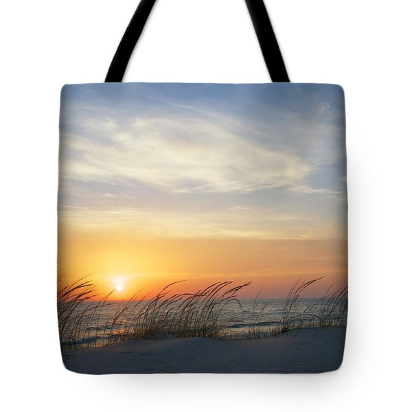 Lake Michigan Sunset With Dune Grass Tote Bag