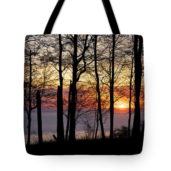 Lake Michigan Sunset With Silhouetted Trees Tote Bag