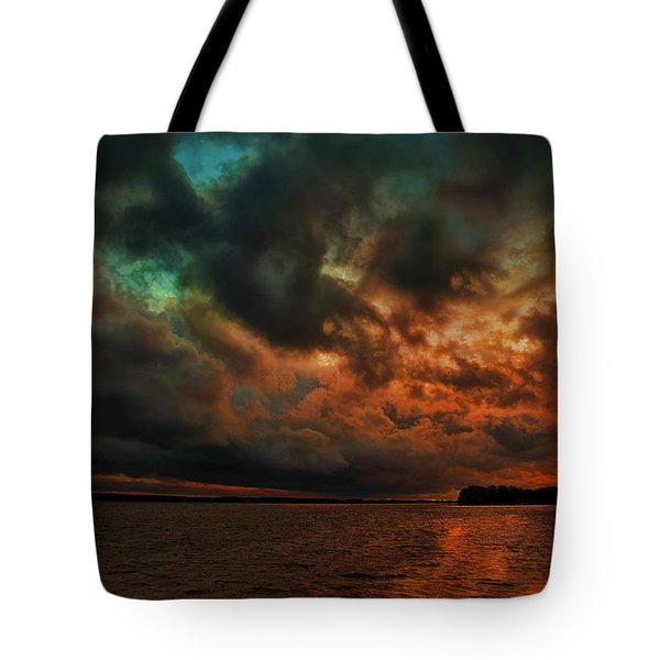 Lake Murray Fire Sky Tote Bag