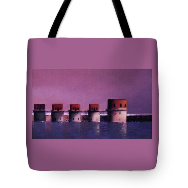 Lake Murray Towers In Evening Tote Bag by Blue Sky
