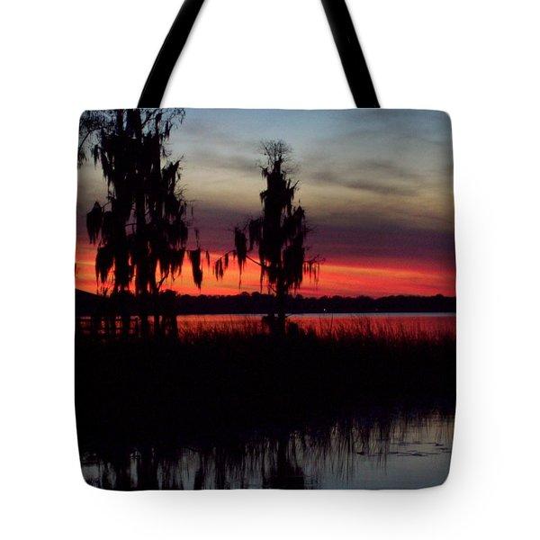Lake On Fire Tote Bag by Lew Davis