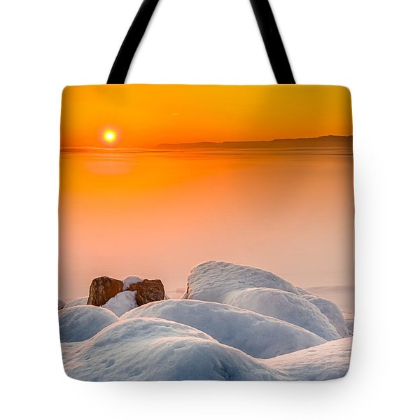 Lake Pepin Winter Sunrise Tote Bag by Mark Goodman