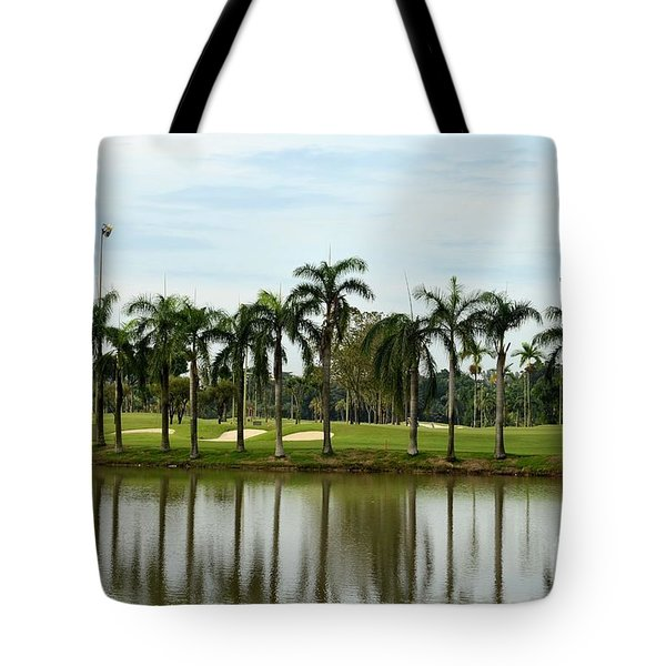 Lake Sand Traps Palm Trees And Golf Course Singapore Tote Bag
