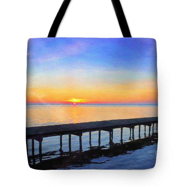 Lake Sunrise - Watercolor Tote Bag