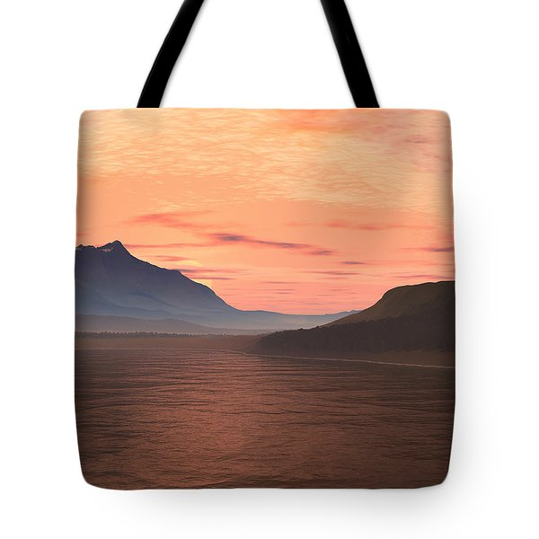 Tote Bag featuring the digital art Lake Sunset 1 by Judi Suni Hall
