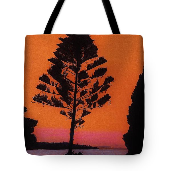 Tote Bag featuring the drawing Lake Sunset by D Hackett