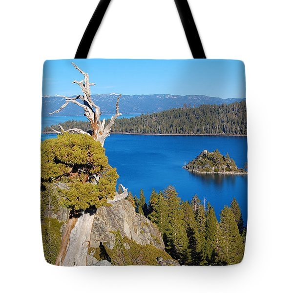 Lake Tahoe Reaching Tree Tote Bag by Debra Thompson