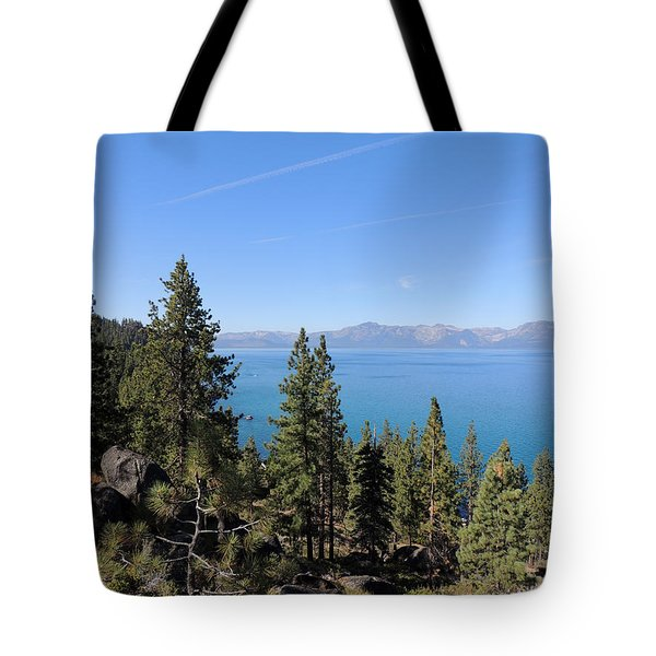 Lake Tahoe Through The Trees Tote Bag
