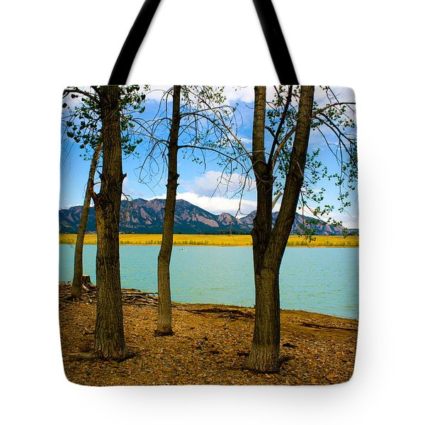 Lake Through The Trees Tote Bag