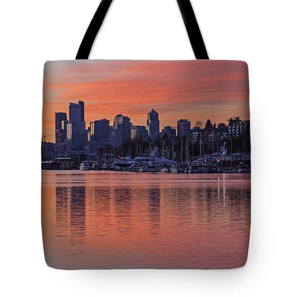Lake Union Dawn Tote Bag by Mike Reid