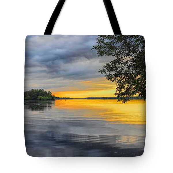 Tote Bag featuring the photograph Lake Wausau Summer Sunset Panoramic by Dale Kauzlaric