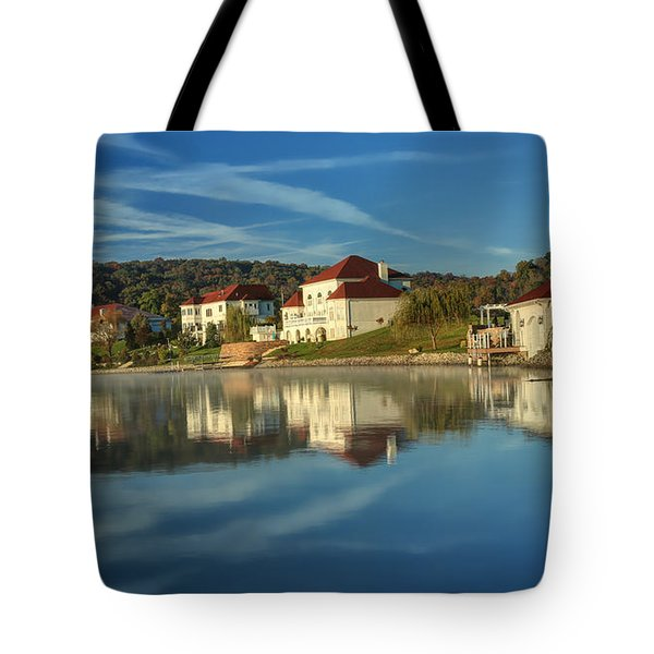 Lake White Morning Tote Bag
