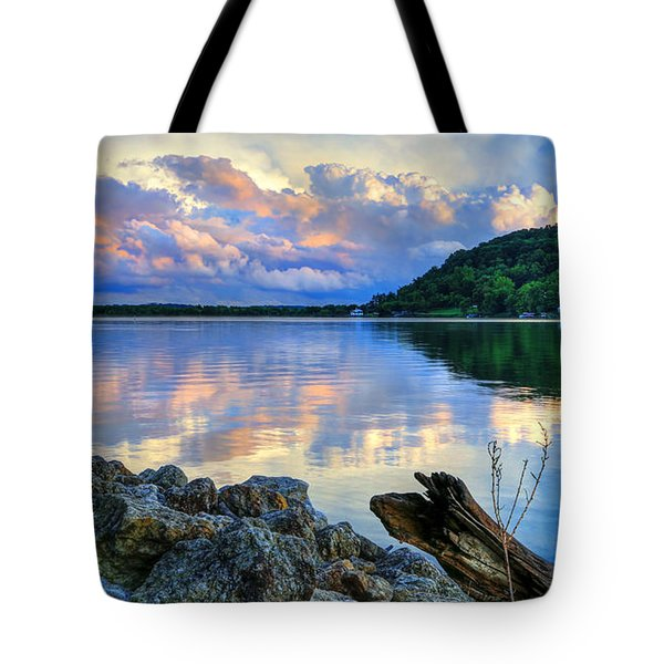 Lake White Sundown Tote Bag by Jaki Miller